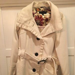 NEW White Ruffle Pea Coat XL